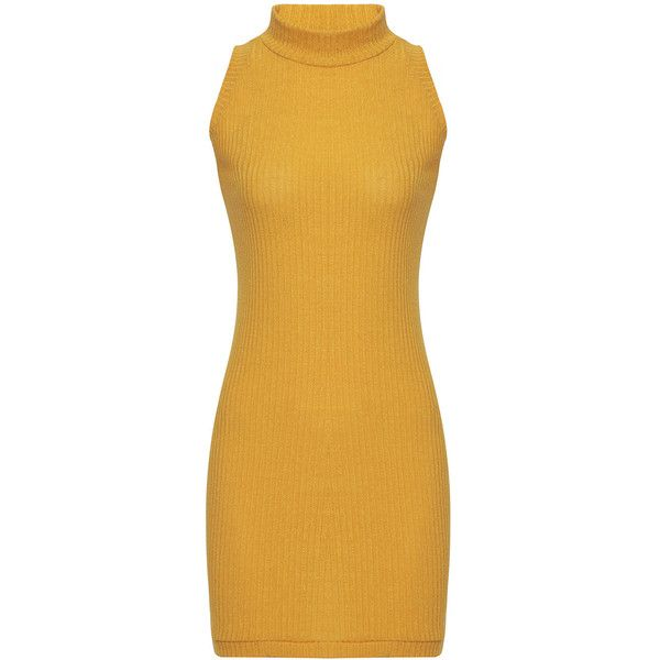 Yoins Yellow Sleeveless Crew Neck Knitted Mini Dress ($14) ❤ liked on Polyvore featuring dresses, yellow, no sleeve dress, crew neck dress, short dresses, sleeveless short dress and yellow dresses