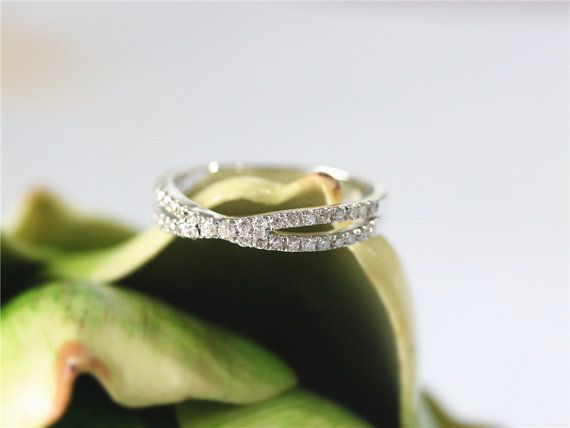 Diamond Wedding Band In 14K White Gold Half by GembySheri on Etsy
