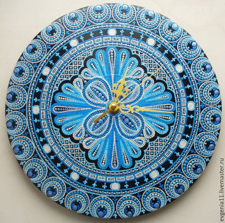 """Купить Часы """"Зимняя сказка"""" - голубой, синий, жемчужный, часы-мандала, настенные часы"""