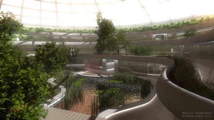Crater Dome - Mars Colony - Multiple levels of gardens ...