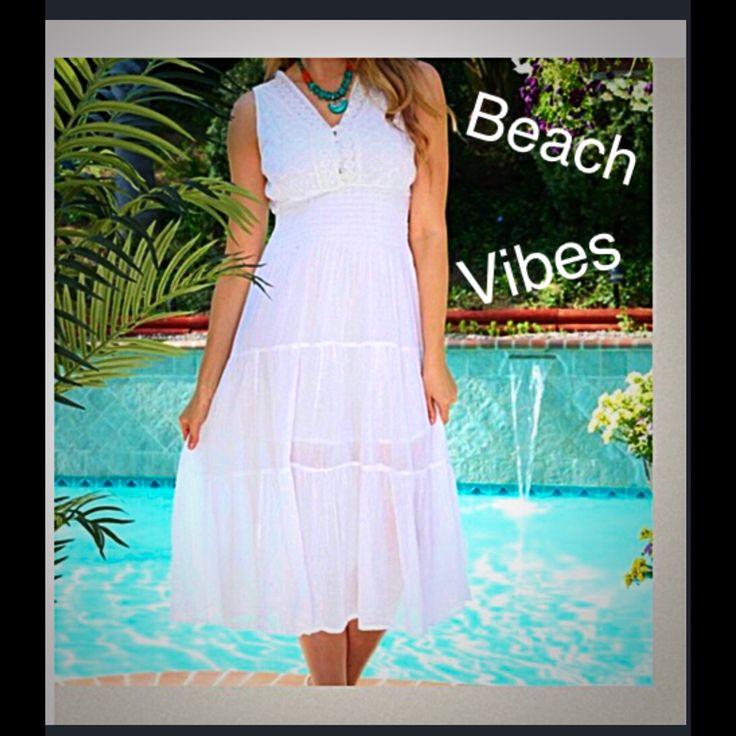 White Crochet Detail Dress