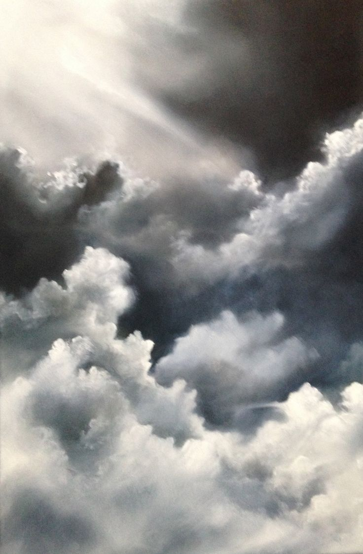 Cloud formations are ever changing.  This painting is a play on the light and shadows formed in cloud compositions.