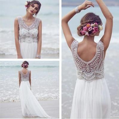 Weiß Anna Campbell Strand Brautkleider Luxus Kristall Perlen Boho Hochzeitskleid