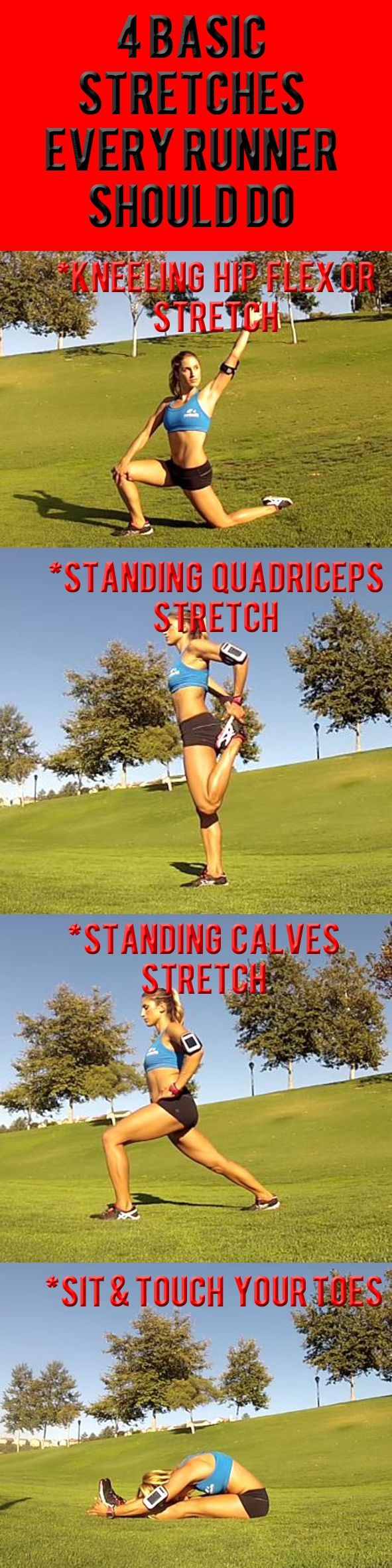AFTER RUNNING STRETCHES: Hold each stretch for 30 seconds to ensure that your muscles fully release and get a great stretch.