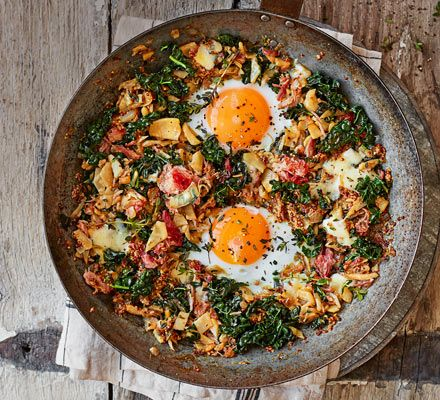 This hearty hash is a great way to use up any leftover root vegetables. You could try swapping the celeriac for parsnips, potatoes or Jerusalem artichokes