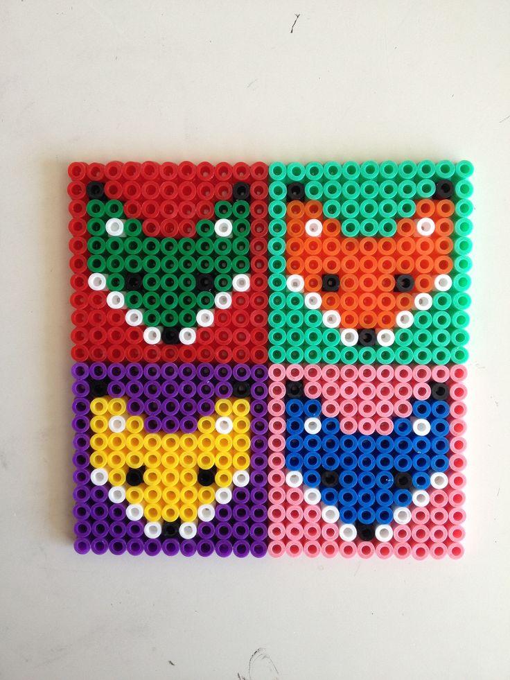 Fox hama perler beads coasters