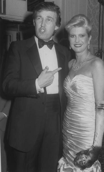 Real estate tycoon Donald Trump pointing to wife Ivana at a ceremony in honor of Norman Vincent Peale, who married them at the Waldorf Astoria.  http://images.google.com/hosted/life/199bd0d42da673b1.html
