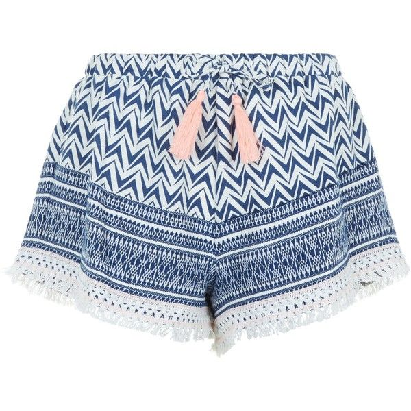 New Look Blue Aztec Print Tassel Shorts featuring polyvore, women's fashion, clothing, shorts, blue pattern, tassel shorts, patterned shorts, aztec pattern shorts, aztec shorts and blue shorts