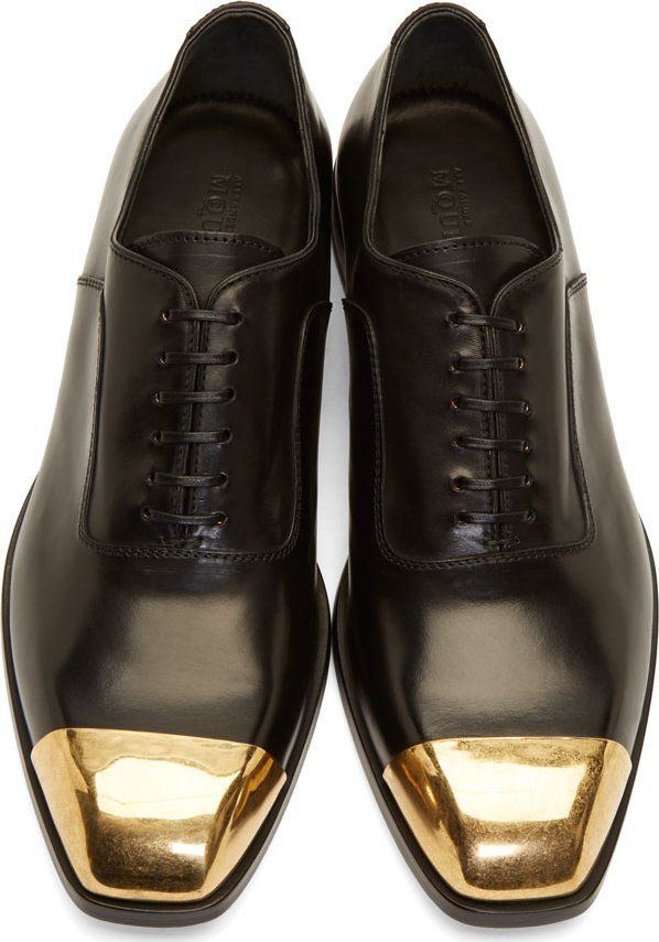 ee481d633ba Alexander McQueen Black Leather Toe Cap Oxfords!