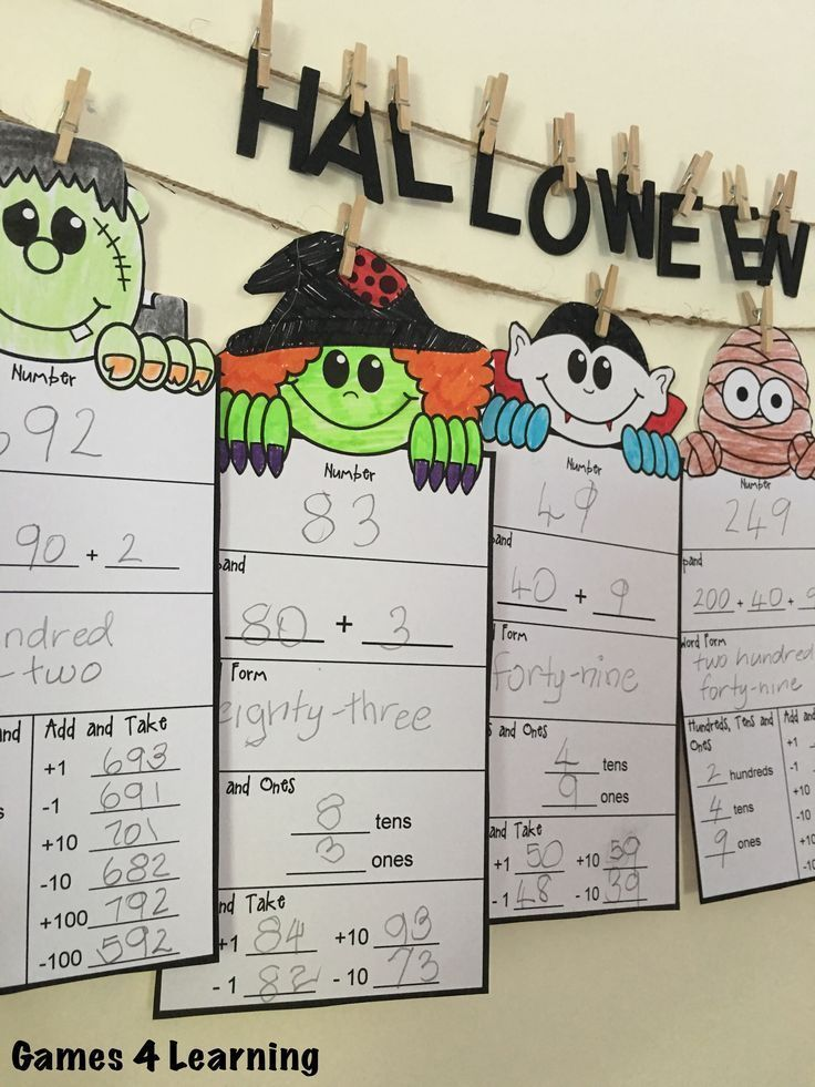 Halloween Math Place Value Friends - for numbers with 2-5 digits! Fun place value that makes a great Halloween math display! $