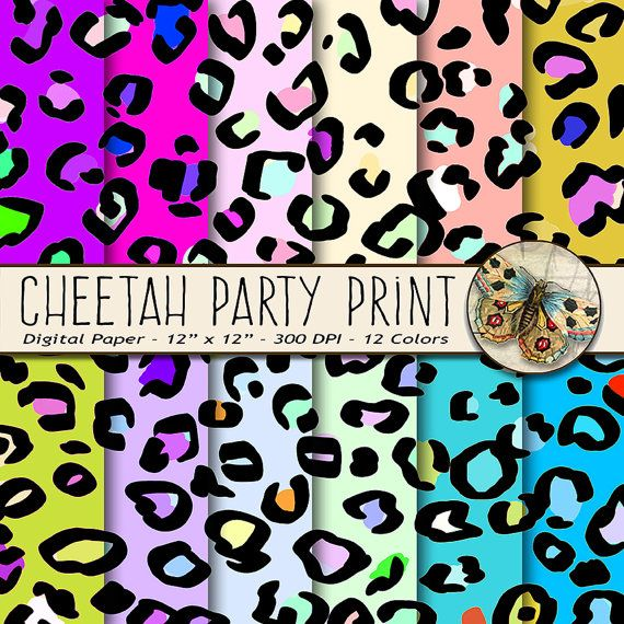 Cheetah Print Digital Paper, Animal Print Paper, Party Cheetah Print for Birthday Party , Rainbow Cheetah Paper, Confetti Cheetah Print #scrapbooking #custominvitation