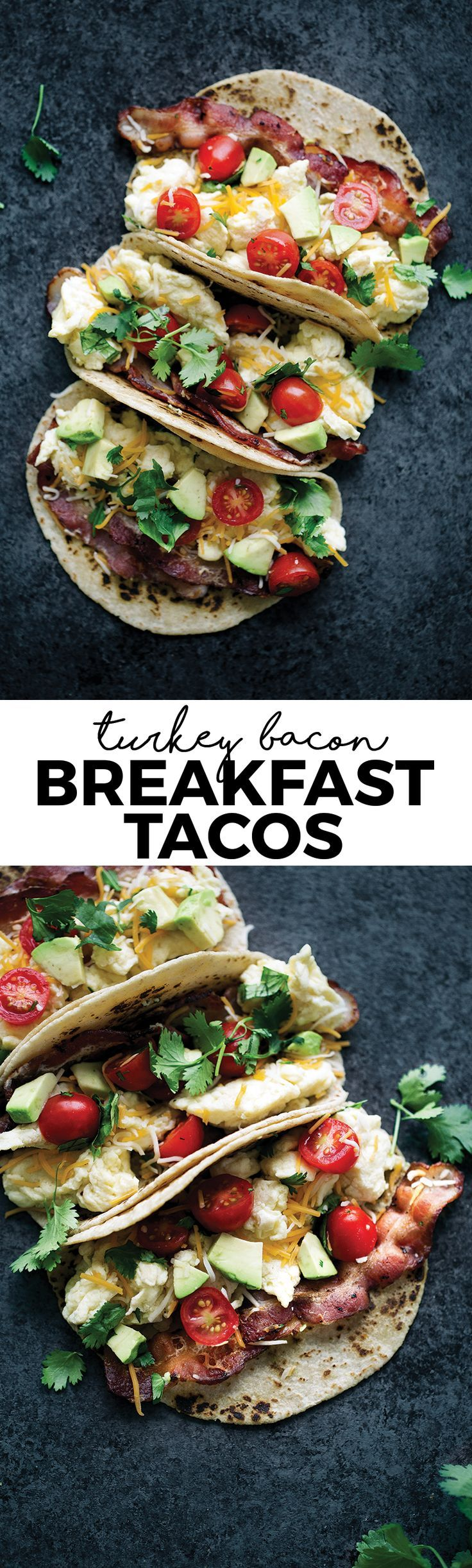 These turkey bacon and egg breakfast tacos will keep you satisfyingly full all morning. Try topping them with sliced avocado and cilantro!