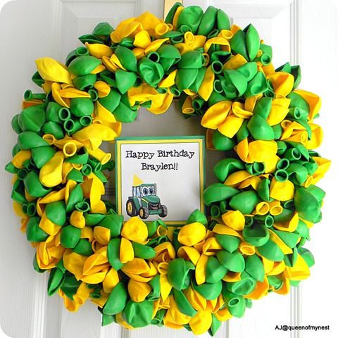 """Instructions on how to make this adorable tractor themed """"balloon wreath"""""""