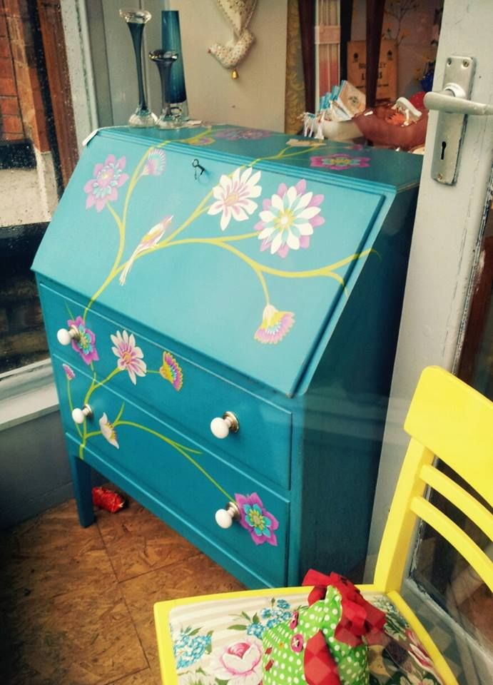 Painted writing bureau @ Glory, Chanterland Avenue, Hull