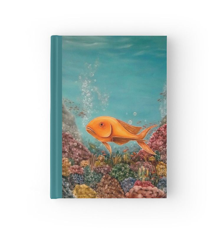 Hardcover Journal, stationery,school,supplies,cool,unique,fancy,trendy,awesome,beautiful,design,unusual,modern,artistic,for,sale,items,products,office,organisation, blue, turquoise, fish