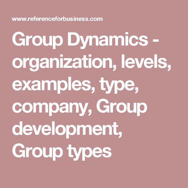 Group Dynamics - organization, levels, examples, type, company, Group development, Group types