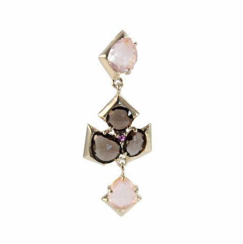 PINK, SMOKEY QUARTZ & SILVER EARRINGS | Buy So Pretty Jewelry online