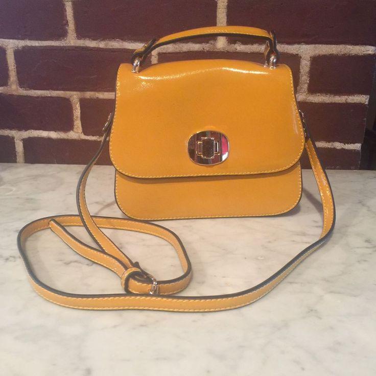 Melie Bianco Purse Clutch Shoulder Bag Mustard Yellow Hardware Vegan #MelieBianco #Clutch
