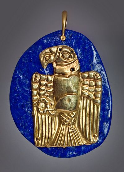 An Ancient Graeco - Scythian Gold (Electrum) Ornamental Plaque  circa 6th - 5th century BC  This original ancient gold plaque in the form of an eagle has been recently made into a pendant.