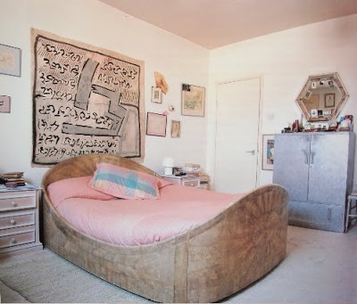 """Lady Ledwidge (Flora)  """"A huge pinky-beige sharkskin bed...  to swim in every night,"""" says Flora  of the bed designed by her father  Andre Groult in the 1920's.    The French Woman's Bedroom - The Book"""