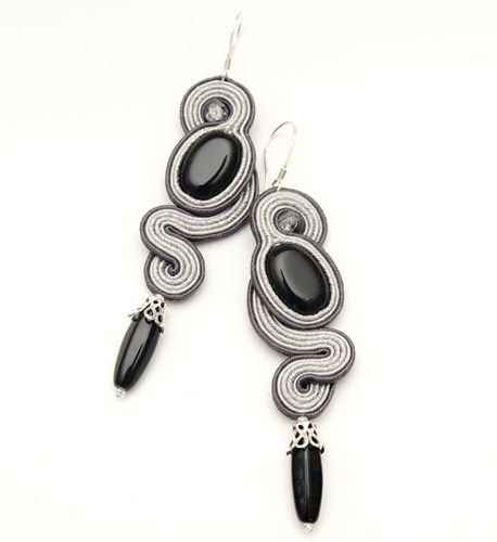 soutache long earrings black silver
