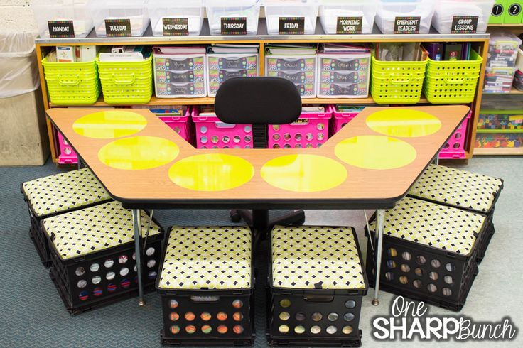 Love this teacher table organization!