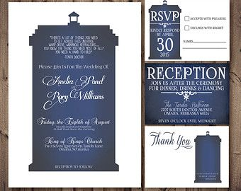 Doctor Who TARDIS Wedding Invitation Set white - PRINTABLE DIY (perfect invite for Dr Who fans) Matching save the dates available, digital