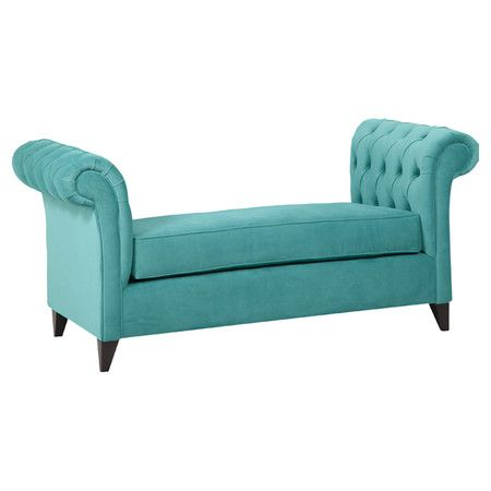 Equally at home in your living room or foyer, this wood-framed settee brings dramatic style to any space with its scrolling arms and artfully tufted cotton v...