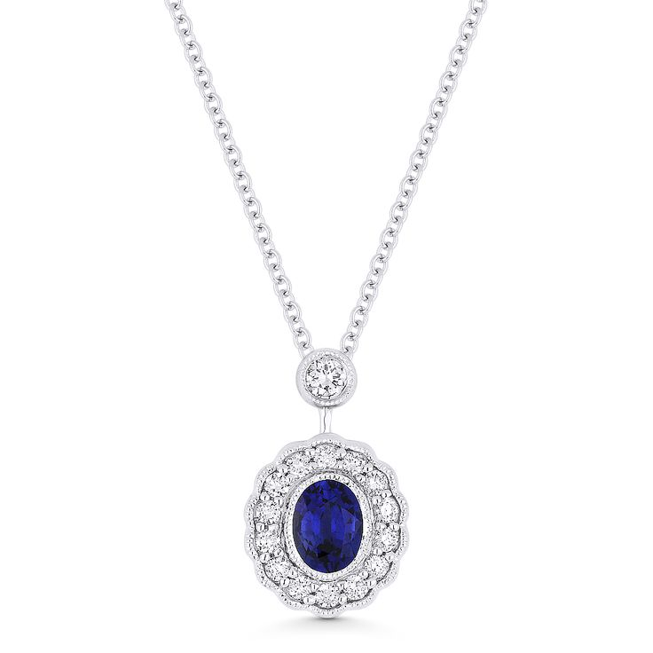 0.69ct Oval Cut Sapphire & Diamond Floral Pendant & Chain Necklace in 14k White Gold - AM-DN5028 - AlfredAndVincent.com