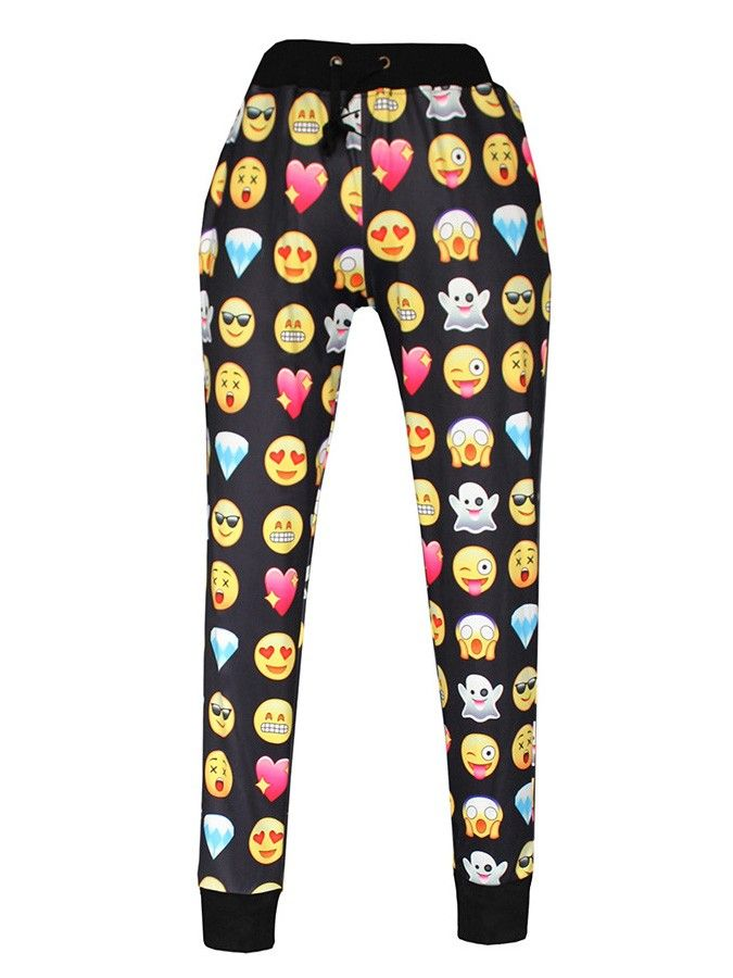 Emoji Printed Jogger Pants Black Sweater Sweatshirts Suits ...