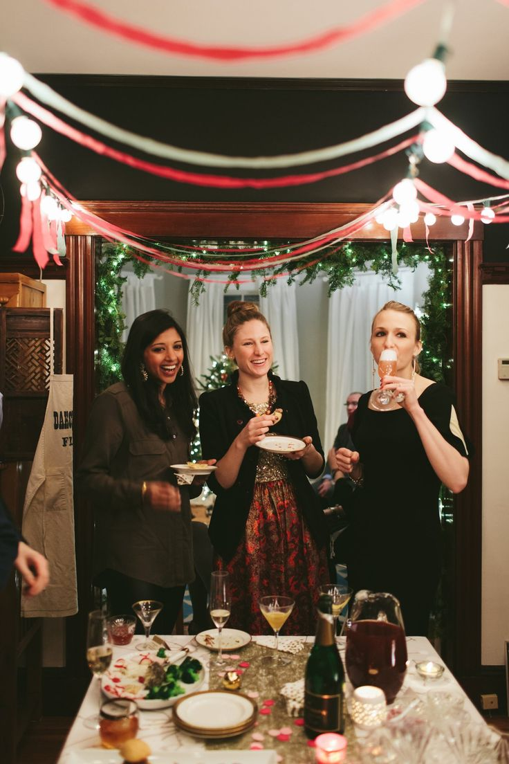 """Earlier this month my husband and I hosted a cozy-glam winter cocktail party for friends in our Boston apartment. Yesterday I shared the party plan and menu, and now it's time to get a peek at how it all went down!                                                                                  Buoyed by our friends' festive mood and attire (I encouraged everyone to wear something that made them feel """"dashing,"""" and was thrilled to see sparkles and bow ties around the room!), we lit candles…"""