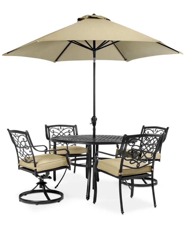 Wentley Patio Furniture, Outdoor 5 Piece Set (2 Dining Chairs, 2 Swivel  Chairs