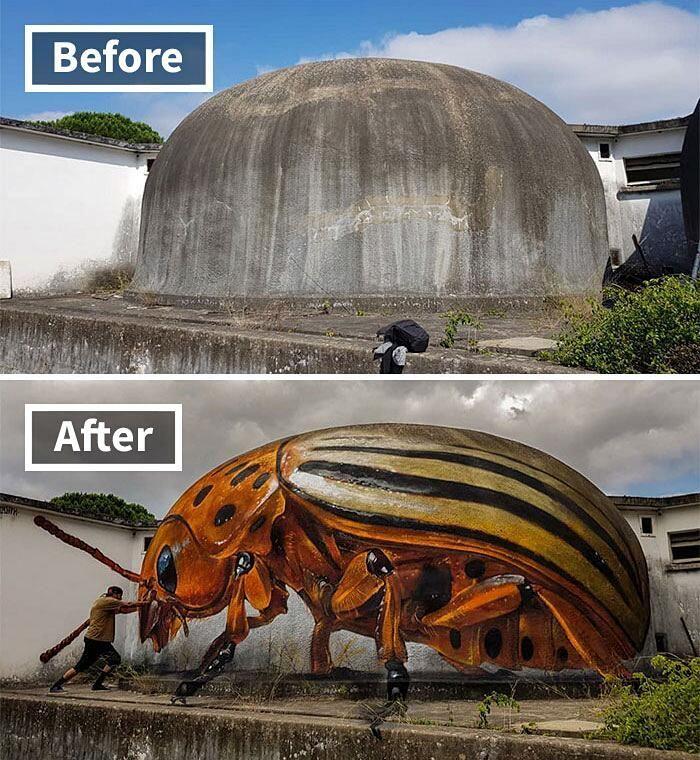Portugiesischer Straßenkünstler schafft wirklich beeindruckende 3D-Graffiti