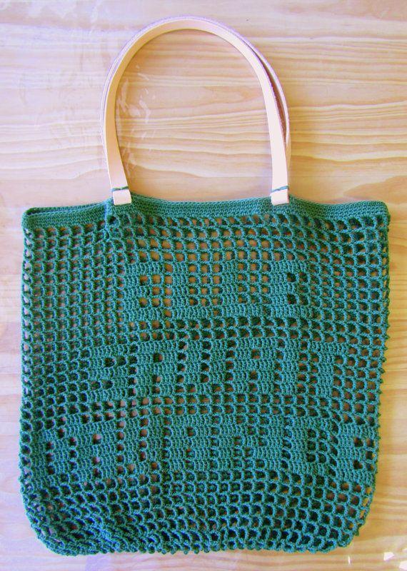 BOLSA BEIGE Crochet bolso de la verano cuero hecho a mano asas