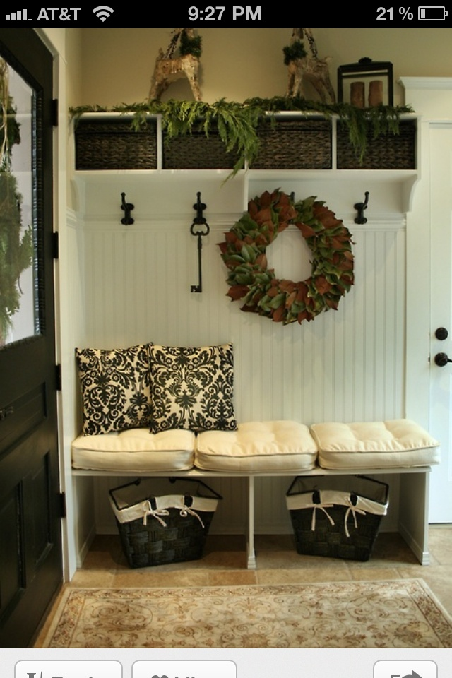 I so want to do this so bad for my house! Love the idea of a coat hanger and bench together!