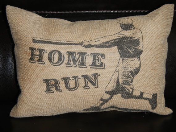 @ JAMIE HILL--Vintage Baseball Homerun Burlap  Decorative Pillow Sports Baseball. So cute for JT's room??