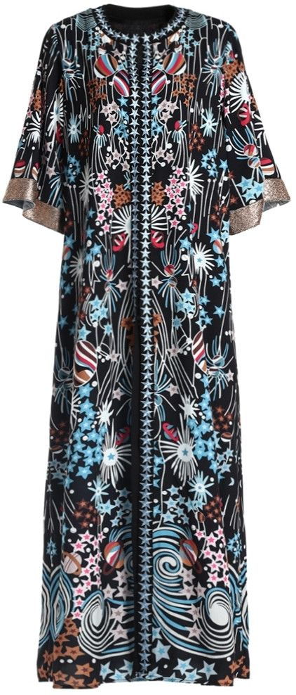Galaxy Embroidered & Printed Long Kaftan Dress