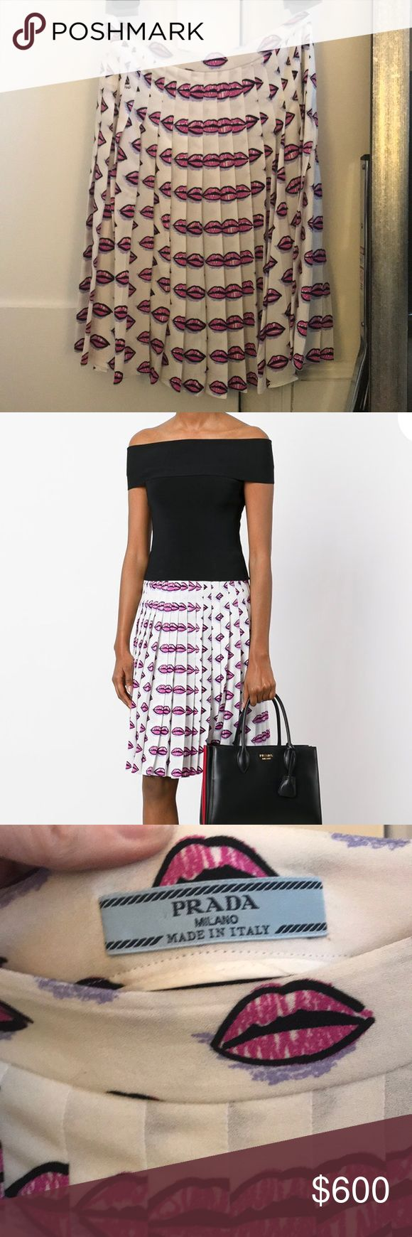 Prada SS17 Lip Print Skirt Prada's AW17 white, pink and purple lip print pleated skirt reimagines the iconic print first seen in the Spring 2000 collection. Prada prints have become recognizable and collectible so it's a great investment piece (Vogue included this print in a story about Prada's best collectibles). Size 38 Italian fits size 2 US. Light viscose fabric. Very good condition except subtle pale coffee mark as pictured (was just dry cleaned so it's faded but probably needs a little…