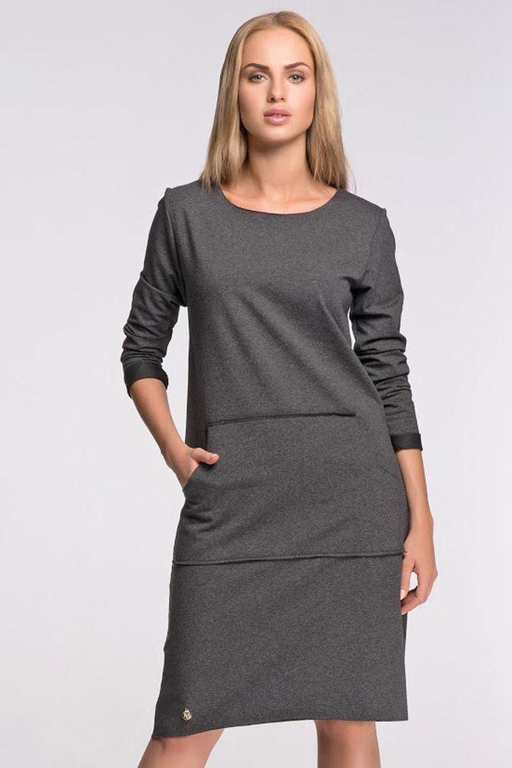 Grey, kangaroo, midi, sporty dresses from Molly