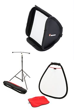 Manfrotto Light Modifiers are useful tools for the photographer who needs to control natural and/or studio lighting and for the portrait photographer who requires a unique background system. The range consist of: reflector and diffusers available in triangular and circular shapes; sofbooxes for on camera and off camera usage, a dual functional umbrella; unique textured backgrounds which are easily collapsible, and backgrounds supports for instant setup.