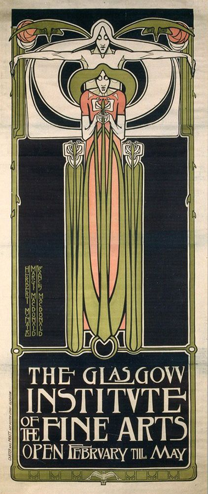 Two poster designs by Charles Rennie Mackintosh, ca. 1886. Source