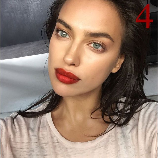 Contour, fill brows. Red lipstick. Nude shadow all around eyes. Black mascara.