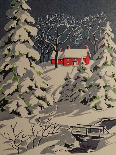 1950s Winter Snow Scene-Vintage Christmas Card