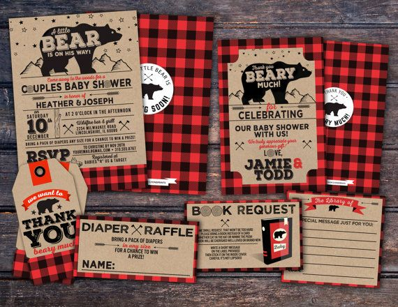 lumberjack baby shower invitation      buffalo plaid