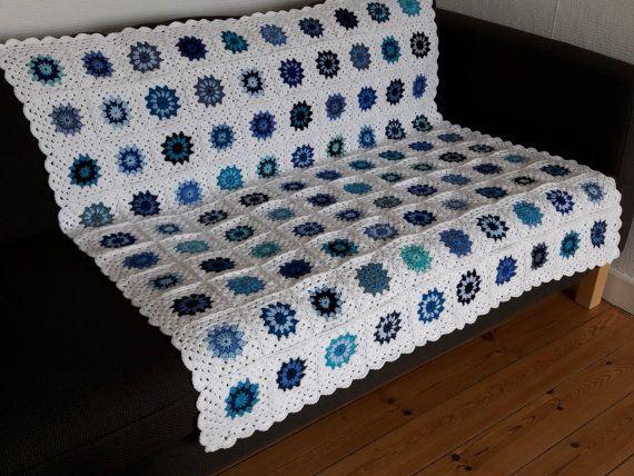 Blue Throw Blanket Blue Granny Squares Blanket by PhoenixSmiles