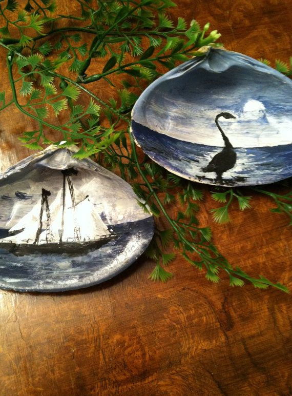 Set of 2 Vintage Hand Painted Shells. Beautiful by VelveteenGarden, $29.00