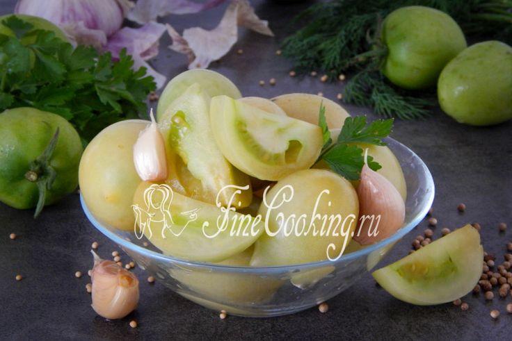 Соленые зеленые помидоры на зиму - рецепт с фото