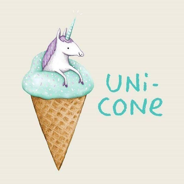 Funny Pun: Uni-Cone. Unicorn Humor