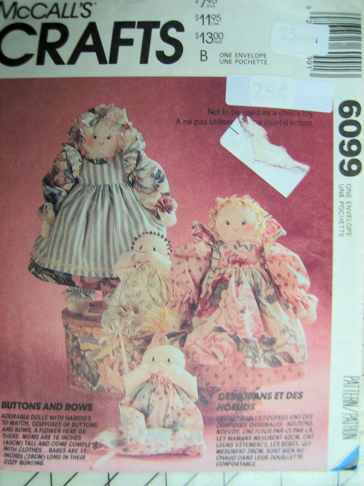 Mccalls 6099 Craft Pattern Dolls Babys Buttons And Bows
