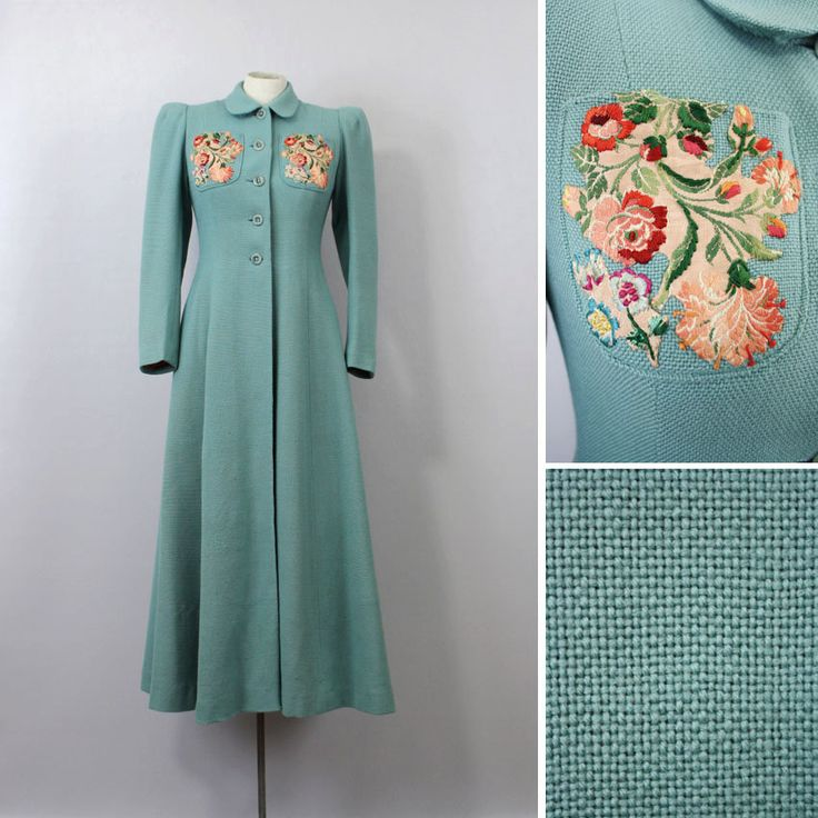 Vintage Princess Coat / 1930s Mint Green. I've got a diamond-pattern coat in this style without the flower embroidery, in pink and black I could die to a dark olive and black.